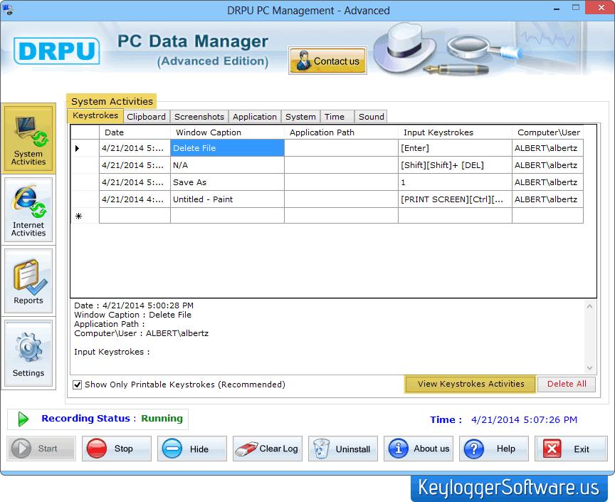 Advance keylogger software keyboard monitoring free key logger spy